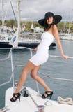 kobieta piękny jacht Obrazy Royalty Free