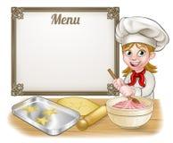 Kobieta piekarz lub ciasto szef kuchni menu znak Zdjęcia Stock