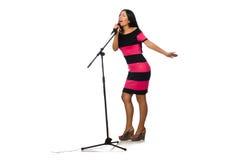 Kobieta śpiew w karaoke klubie na bielu Fotografia Stock