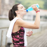 Kobieta Pije Energetycznego napój Po sporta. Obraz Royalty Free