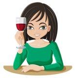 Kobieta pije wino Zdjęcia Royalty Free