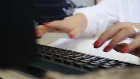 Kobieta pisać na maszynie na pecet klawiaturze i surfuje internet w bluzce z białymi rękawami żeńscy palce poścą wchodzić do dane zdjęcie wideo