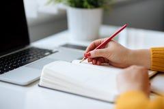 Kobieta pisze w dzienniczku w biurze Obraz Royalty Free