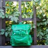 Kobieta plecaka zieleń na zielonym tle zdjęcia royalty free