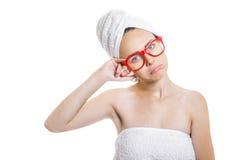 Kobieta po kąpać się Zdjęcia Royalty Free