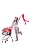 Kobieta po kupować drugi ręki odzież na bielu Obraz Stock