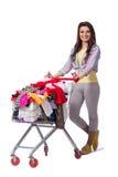 Kobieta po kupować drugi ręki odzież na bielu Zdjęcia Royalty Free