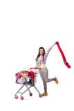 Kobieta po kupować drugi ręki odzież na bielu Obrazy Royalty Free