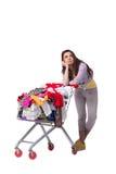Kobieta po kupować drugi ręki odzież na bielu Obrazy Stock