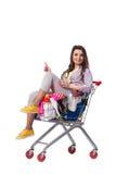 Kobieta po kupować drugi ręki odzież na bielu Obraz Royalty Free
