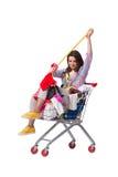 Kobieta po kupować drugi ręki odzież na bielu Fotografia Stock