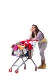 Kobieta po kupować drugi ręki odzież na bielu Fotografia Royalty Free