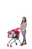 Kobieta po kupować drugi ręki odzież na bielu Zdjęcia Stock