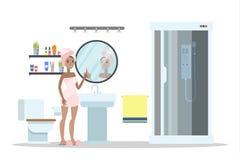 Kobieta po prysznic pozyci w łazience ilustracja wektor