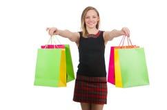Kobieta po wypad do sklepów Fotografia Royalty Free