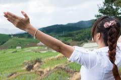 Kobieta podnosi jej rękę z szczęściem przy zielonym ryżu polem na terra obraz royalty free