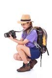 Kobieta podróżnik z kamerą obraz stock