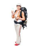 Kobieta podróżnik z plecakiem i butelką woda na bielu fotografia royalty free