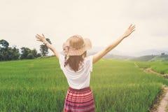 Kobieta podróżnika przyglądający zmierzch przy zielonym ryż tarasów polem zdjęcie stock