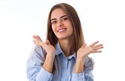 Kobieta pokazuje przyjemność zdjęcie stock