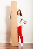 Kobieta pokazuje puste miejsce kopii przestrzeni sztandar Obraz Stock