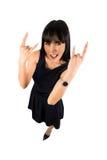 Kobieta pokazuje rockowego znaka Obraz Stock
