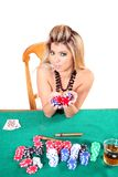 kobieta pokera. Obrazy Royalty Free