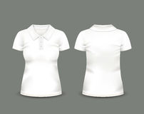 Kobieta polo koszula skrótu biały rękaw w przodzie i tylnych widokach rabatowy bobek opuszczać dębowego faborków szablonu wektor  Obraz Stock