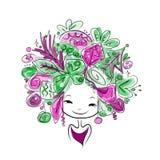 Kobieta portret z fryzurą dla bożych narodzeń Fotografia Royalty Free