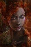 Kobieta portret z pomarańczowymi kwiatami ilustracji