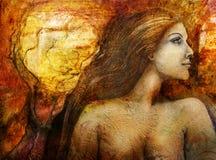 Kobieta portreta świadomości pojęcie ilustracja wektor