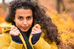 Kobieta portreta jesieni tła wiatru podmuchowy włosy Obrazy Stock
