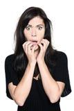 Kobieta portreta pięknego strachu przestraszony niespokojny fotografia royalty free