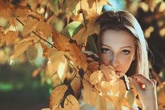 Kobieta pozuje wśród jesień liści Obrazy Stock
