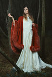 Kobieta pozuje z elegancką czerwoną peleryną Fotografia Stock