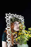 Kobieta pozuje z obrazek ramą Obrazy Stock