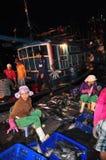 Kobieta pracownicy są zbierający rybołówstwo i sortujący w kosze po długiego dnia połowu w Hon Ro porcie morskim, Nha Trang miast Obrazy Royalty Free