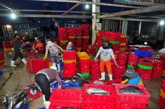 Kobieta pracownicy są zbierający rybołówstwo i sortujący w kosze po długiego dnia połowu w Hon Ro porcie morskim, Nha Trang miast Fotografia Stock