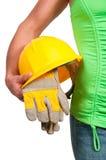 Kobieta pracownik budowlany Obrazy Stock
