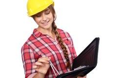 Kobieta pracownik budowlany zdjęcia stock