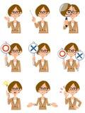 Kobieta pracująca z eyeglasses 9 gestykuluje i wyrazy twarzy ilustracja wektor