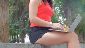 Kobieta pracuje na laptopie, atrakcyjna brunetka w czerni zwiera z laptop pracą na parku, dziewczyna druki na ona zbiory