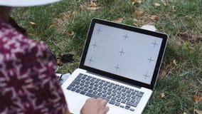 Kobieta pracuje na trawie z laptopem zbiory