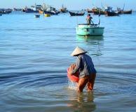 Kobieta pracuje przy wioską rybacką w krzywka Ranh zatoce, Wietnam zdjęcia royalty free