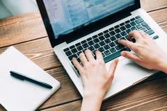 Kobieta pracuje z laptopem umieszczającym na drewnianym biurku Obrazy Stock