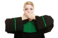 Kobieta prawnika adwokata nakrywkowy usta z rękami Obrazy Royalty Free