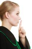 Kobieta prawnika adwokata palec na wargach Fotografia Royalty Free