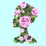 Kobieta profil z róża krzakiem, sylwetka ilustracja wektor