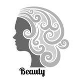 Kobieta profilowy l kędzierzawy włosy Zdjęcia Stock