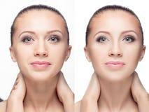 Kobieta, przed i po retuszem obraz royalty free